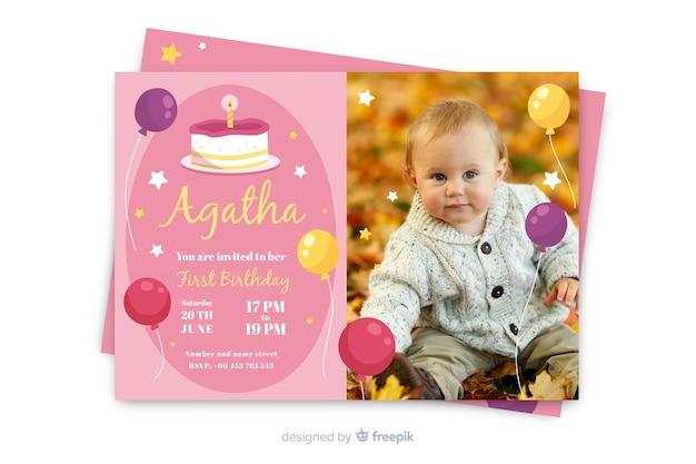 Modello di invito di compleanno con foto