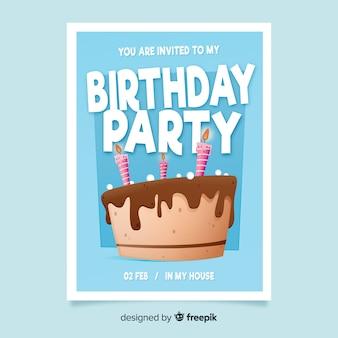 Modello di invito di compleanno design piatto torta
