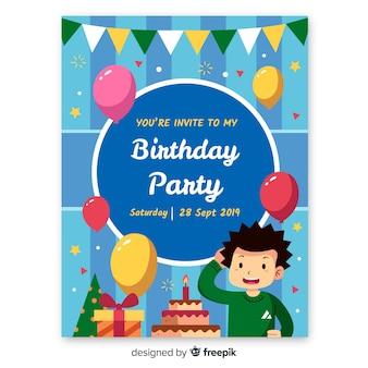Modello di invito di compleanno in stile piano
