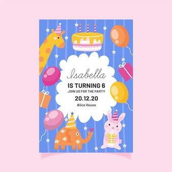 Modello di invito di compleanno per bambini con animali