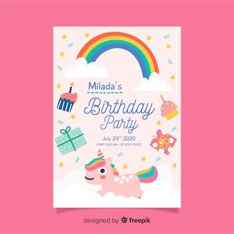 Modello di invito di compleanno per bambini con arcobaleno