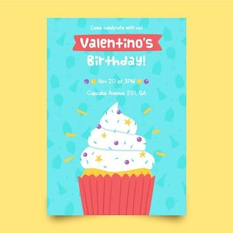 Modello di invito di compleanno per bambini con cupcake