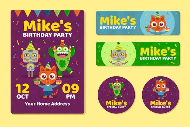 Modello di invito di compleanno per bambini con personaggi