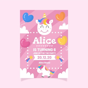 Modello di invito di compleanno per bambini con unicorni e palloncini