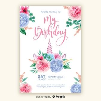 Modello di invito di compleanno stile acquerello