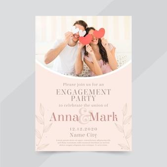 Modello di invito di fidanzamento con foto
