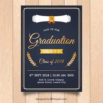 Modello di invito di laurea classica con design piatto