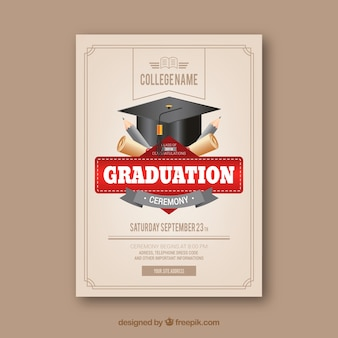 Modello di invito di laurea classico con un design realistico