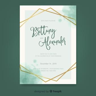 Modello di invito di matrimonio acquerello elegante