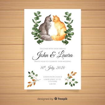 Modello di invito di matrimonio animale dell'acquerello