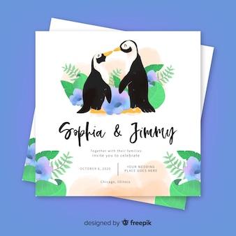 Modello di invito di matrimonio animale dell'acquerello