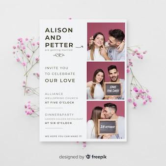 Modello di invito di matrimonio cabina foto