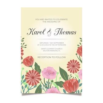 Modello di invito di matrimonio colorato