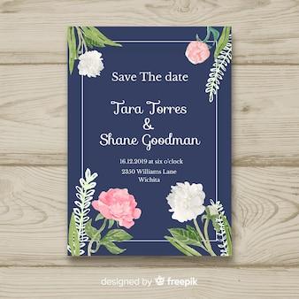 Modello di invito di matrimonio con alcuni fiori di peonia