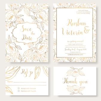 Modello di invito di matrimonio con elementi decorativi dorati