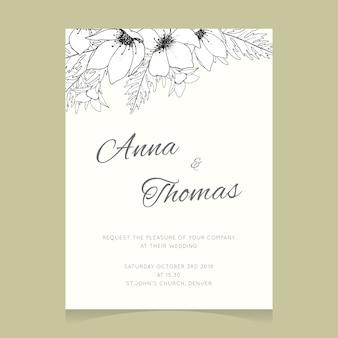 Modello di invito di matrimonio con fiori bianchi