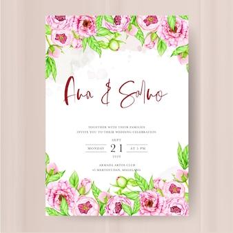 Modello di invito di matrimonio con fiori di peonia acquerello