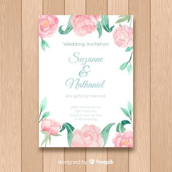 Modello di invito di matrimonio con fiori di peonia