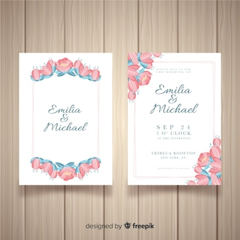 Modello di invito di matrimonio con fiori