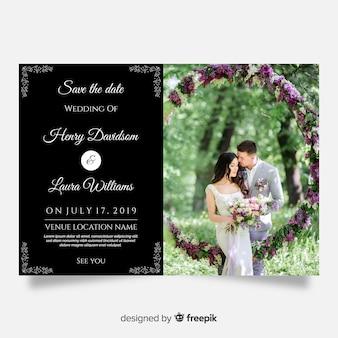 Modello di invito di matrimonio con foto