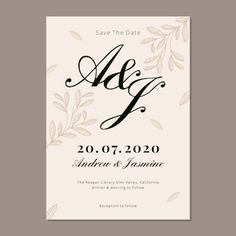 Modello di invito di matrimonio elegante