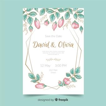 Modello di invito di matrimonio floreale colorato