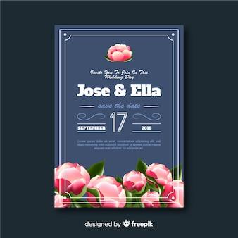 Modello di invito di matrimonio floreale creativo