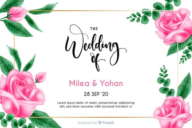 Modello di invito di matrimonio floreale dell'acquerello