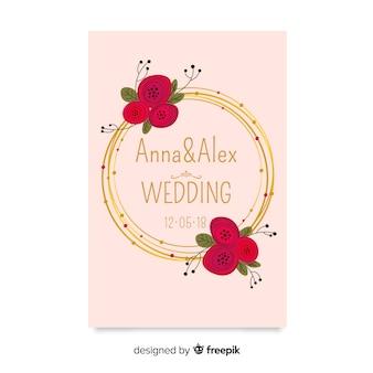 Modello di invito di matrimonio floreale elegante con elementi dorati