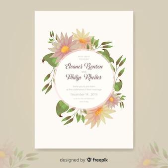 Modello di invito di matrimonio floreale elegante