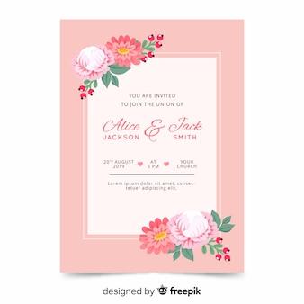 Modello di invito di matrimonio floreale piatta