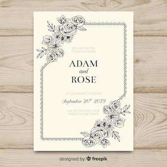 Modello di invito di matrimonio floreale vintage