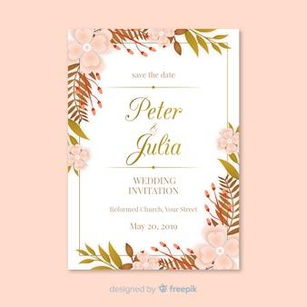 Modello di invito di matrimonio foglie piatte