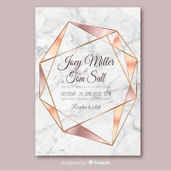 Modello di invito di matrimonio geometrico oro rosa