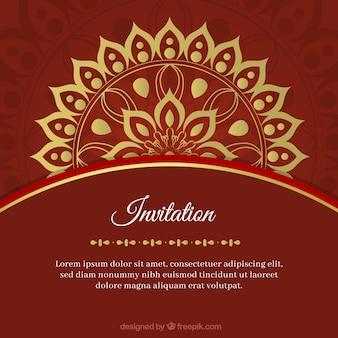Modello di invito di matrimonio incantevole con mandala colorato
