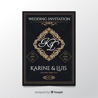 Modello di invito di matrimonio retrò