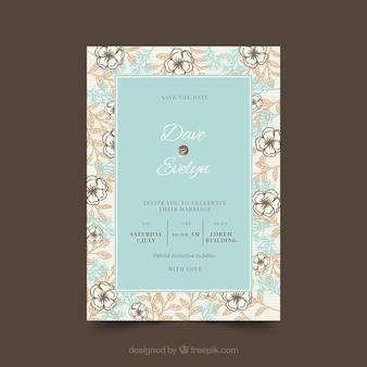 Modello di invito di matrimonio vintage con stile floreale