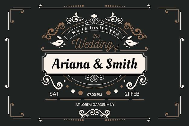 Modello di invito di matrimonio vintage