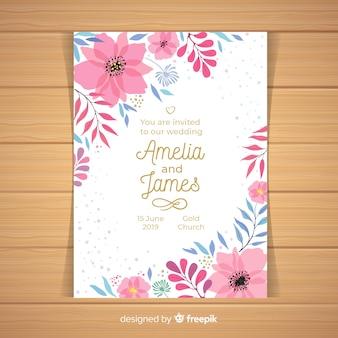 Modello di invito di nozze angoli fioriti