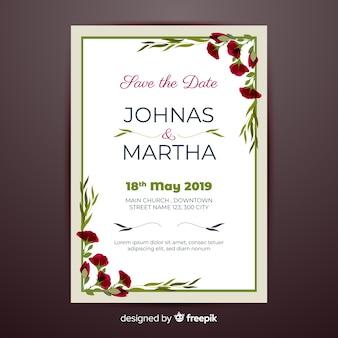 Modello di invito di nozze angoli floreali