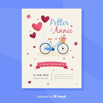 Modello di invito di nozze bici disegnato a mano