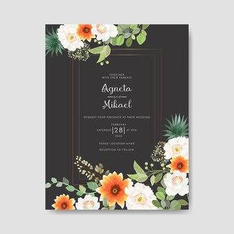 Modello di invito di nozze con bel fiore e foglie
