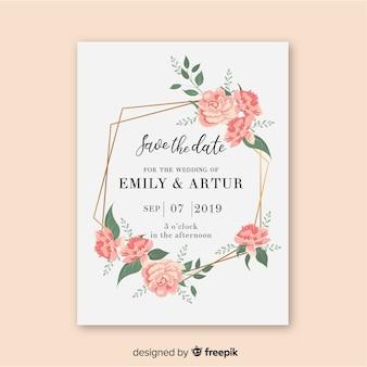 Modello di invito di nozze con cornice floreale