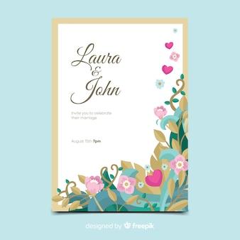 Modello di invito di nozze con elementi floreali