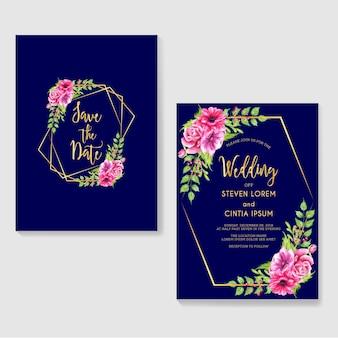 Modello di invito di nozze con fiori e sfondo blu scuro