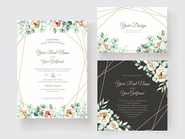 Modello di invito di nozze con foglie di eucalipto impostato