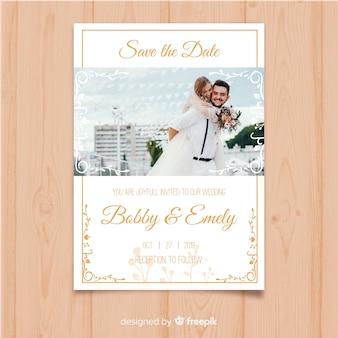 Modello di invito di nozze con foto