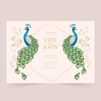 Modello di invito di nozze con piume di pavone