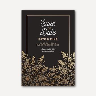 Modello di invito di nozze di lusso