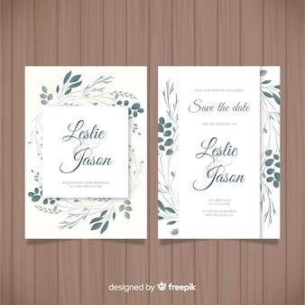 Modello di invito di nozze foglie disegnato a mano